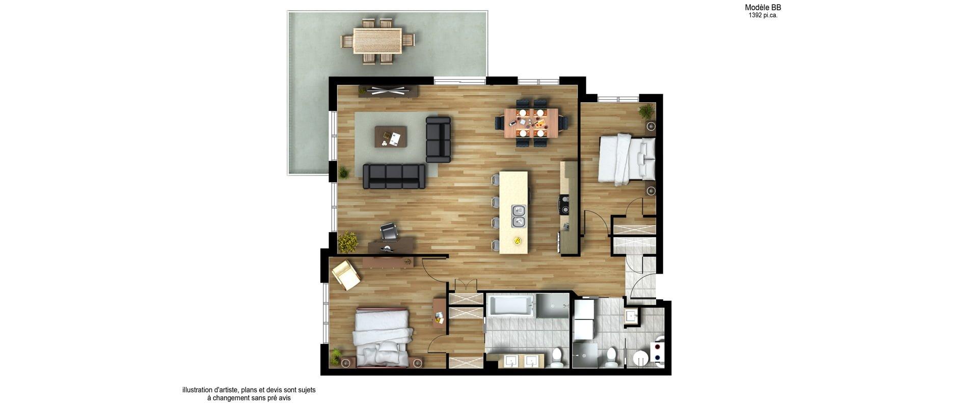 Les Habitations Innovatel condos neufs X15 Mirabel modèle BB