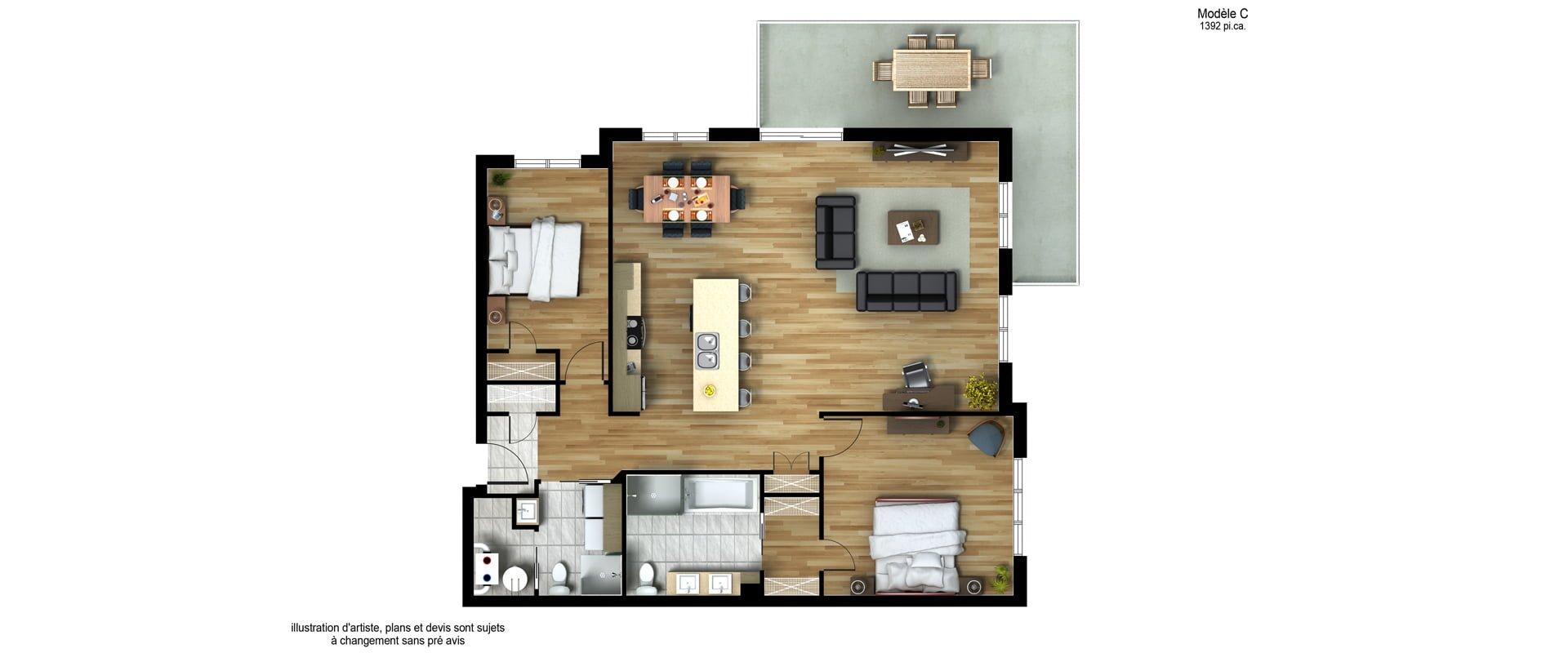 Les Habitations Innovatel condos neufs X15 Mirabel modèle C