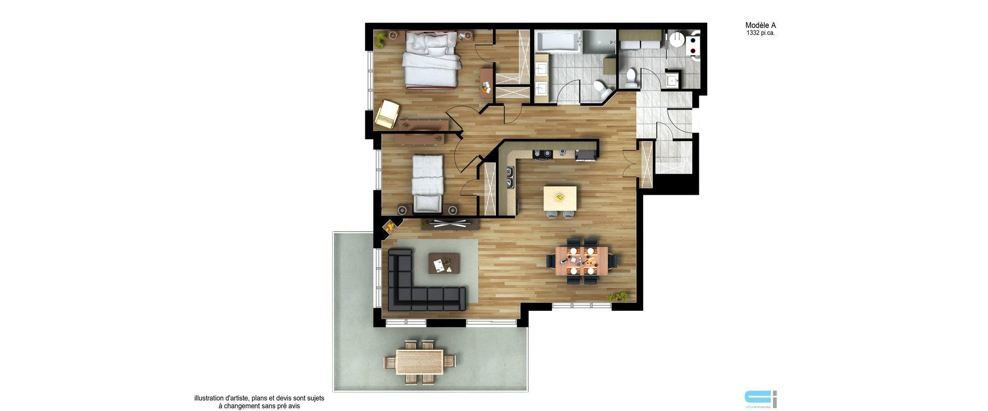Les Habitations Innovatel condos neufs X15 Mirabel modèle A