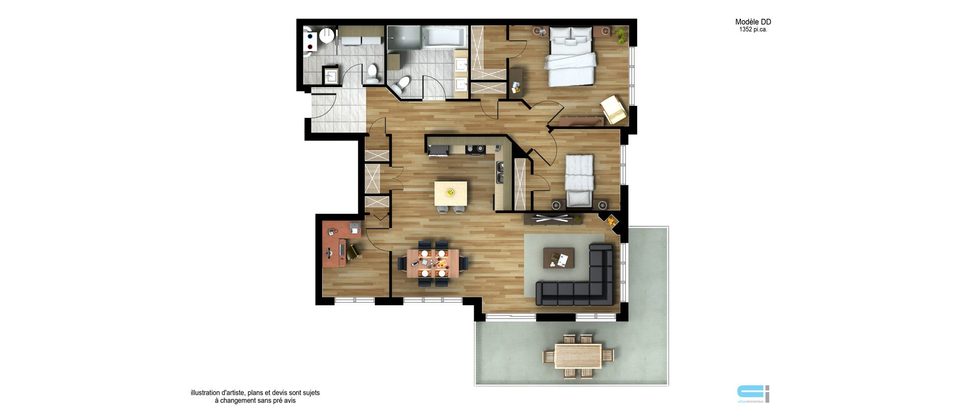 Les Habitations Innovatel condos neufs X15 Mirabel modèle DD
